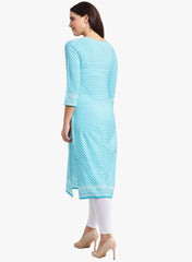 Fabnest womens crepe blue printed straight kurta