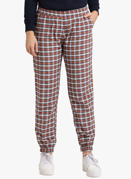 Fabnest womens cotton plaid jogger pants