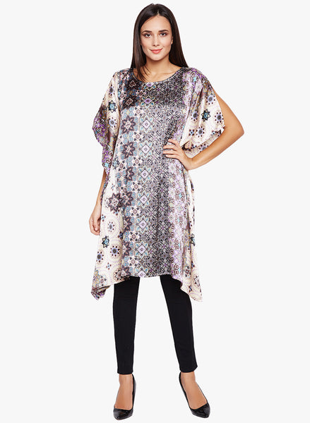 Fabnest women satin multicoloured printed kaftan top