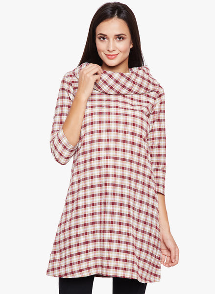 Fabnest women's cotton cream and red plaid cowl neck tunic