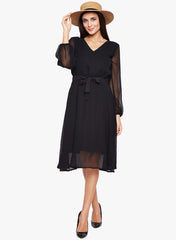 Fabnest women's black Chiffon fit and flare dress with cotton lining.