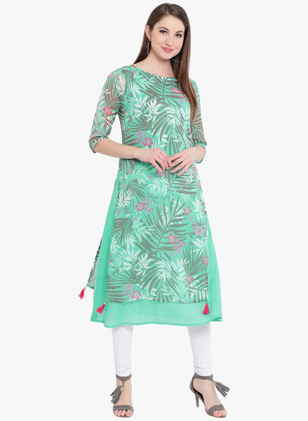 Fabnest Womens double layered cotton and ggt green coloured kurta