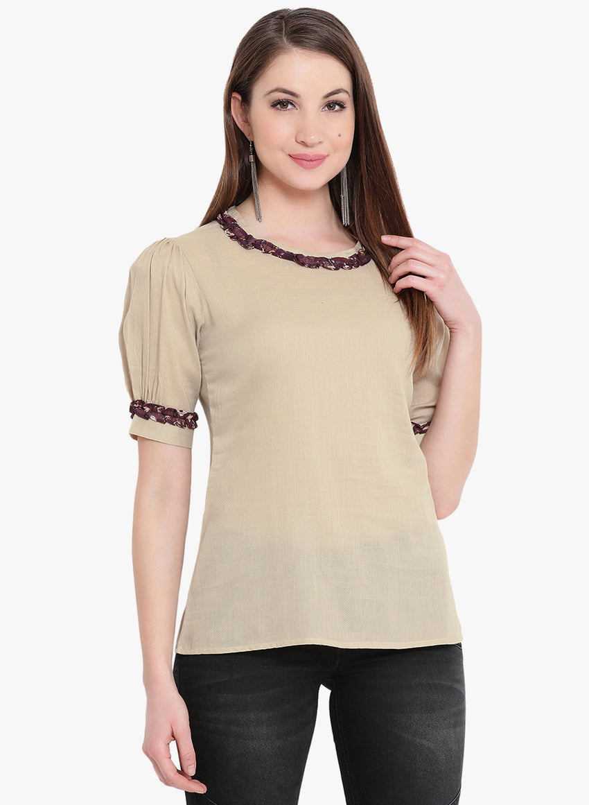 Fabnest Womens cotton twill beige top with puffed sleeves