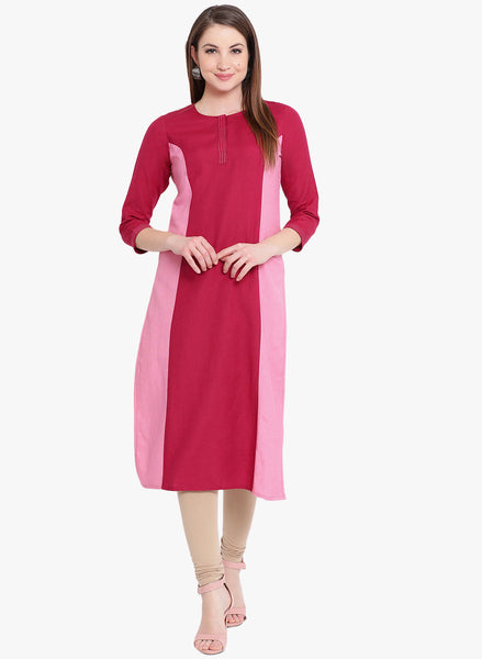 Fabnest womens cotton straight kurta with colour blocking with princess seams