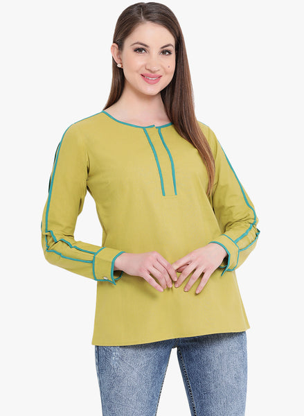 Fabnest womens cotton full sleeves green top with turquoise piping