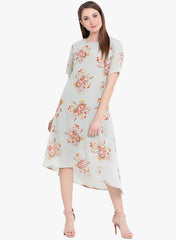 Fabnest Womens green printed ggt dress with lining
