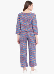 Fabnest womens rayon blue printed jumpsuit