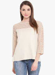 Fabnest womens offwhite cotton twill top with lace yoke and sleeves