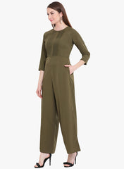 Fabnest Womens Khaki jumpsuit in crepe with pintucks
