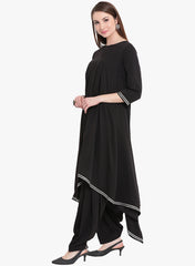 Fabnest Womens asymmetrical kurta and salwar set in black crepe