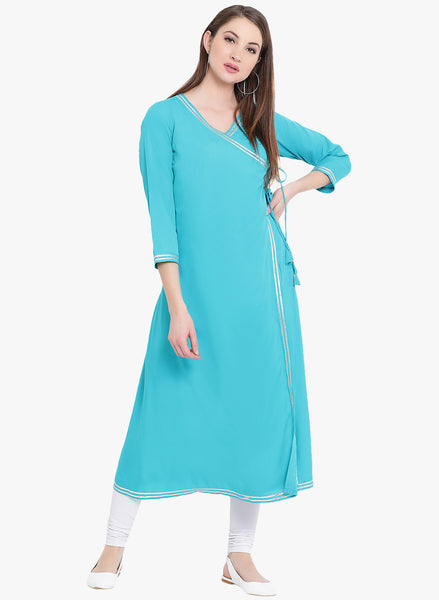 Fabnest womens Blue angarkha crepe kurta with silver gota at the edges