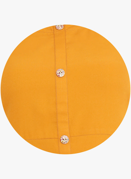 Fabnest Womens Mustard crepe kurta.With assymetrical / ballooned bottom