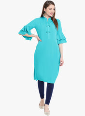Fabnest womens blue straight kurta with flounce sleeves nd bows t the placket