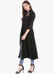 Fabnest womens black crepe kurta with asymmetrical placket adn multi coloured tassles