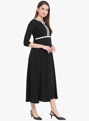 Fabnest womens black crepe dress with white lace inserts