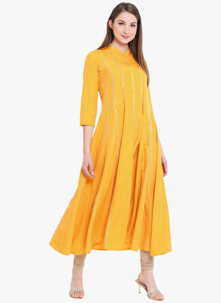 Fabnest womens anarkali yellow crepe kurta with thin gota accents