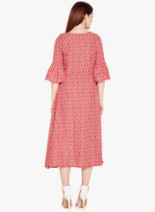 Fabnest Women's rayon red printed dress with tassels