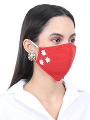 Fabnest Womens Cotton 3 Ply Solid Red And Pink Comfortable Face Masks with Flower Embellishment (Pack Of 2)
