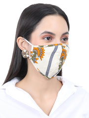 Fabnest Womens Rayon 3 Ply OffWhite/Multi Floral Print Comfortable Plain Face Masks (Pack Of 2)