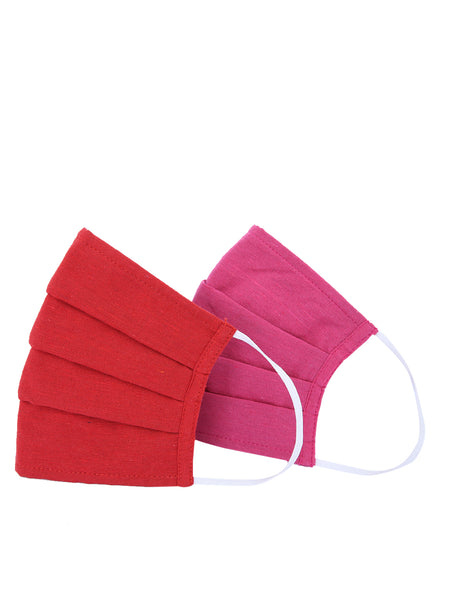 Fabnest Unisex Cotton 3 Ply Solid Red And Pink Comfortable Face Masks (Pack Of 2)