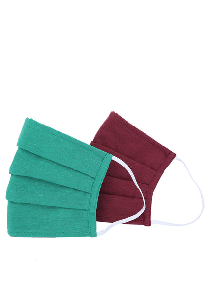 Fabnest Unisex Cotton 3 Ply Solid Green And Maroon Comfortable Face Masks (Pack Of 2)