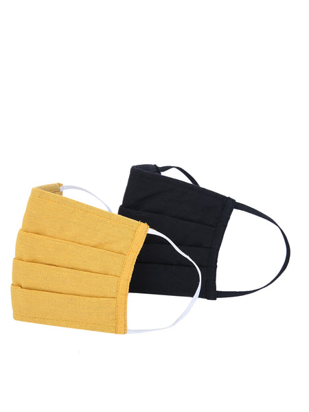 Fabnest Unisex Cotton 3 Ply Solid Black And Yellow Comfortable Face Masks (Pack Of 2)