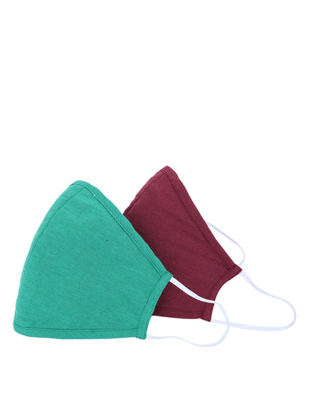 Fabnest Unisex Cotton 3 Ply Solid Maroon And Green Comfortable Face Masks (Pack Of 2)