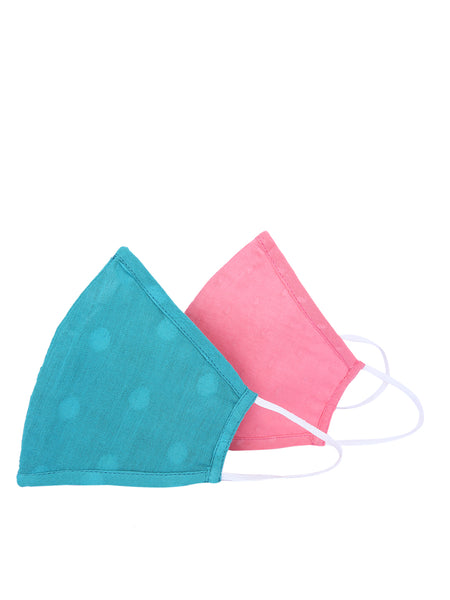 Fabnest Unisex Cotton 3 Ply Pink and Blue Solid Dobby Comfortable Face Masks (Pack Of 2)