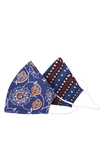 Fabnest Womens Cotton 3 Ply Indigo Multi Printed Comfortable Face Masks (Pack Of 2)