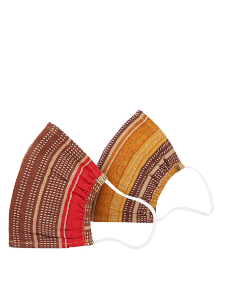 Fabnest Unisex Rayon 3 Ply Red/Brown Multi Printed Comfortable Face Masks (Pack Of 2)