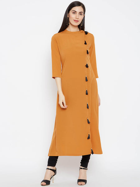 Fabnest Solid Mustard Crepe A Line Women Kurta Kurti With Black Tassles On The Side
