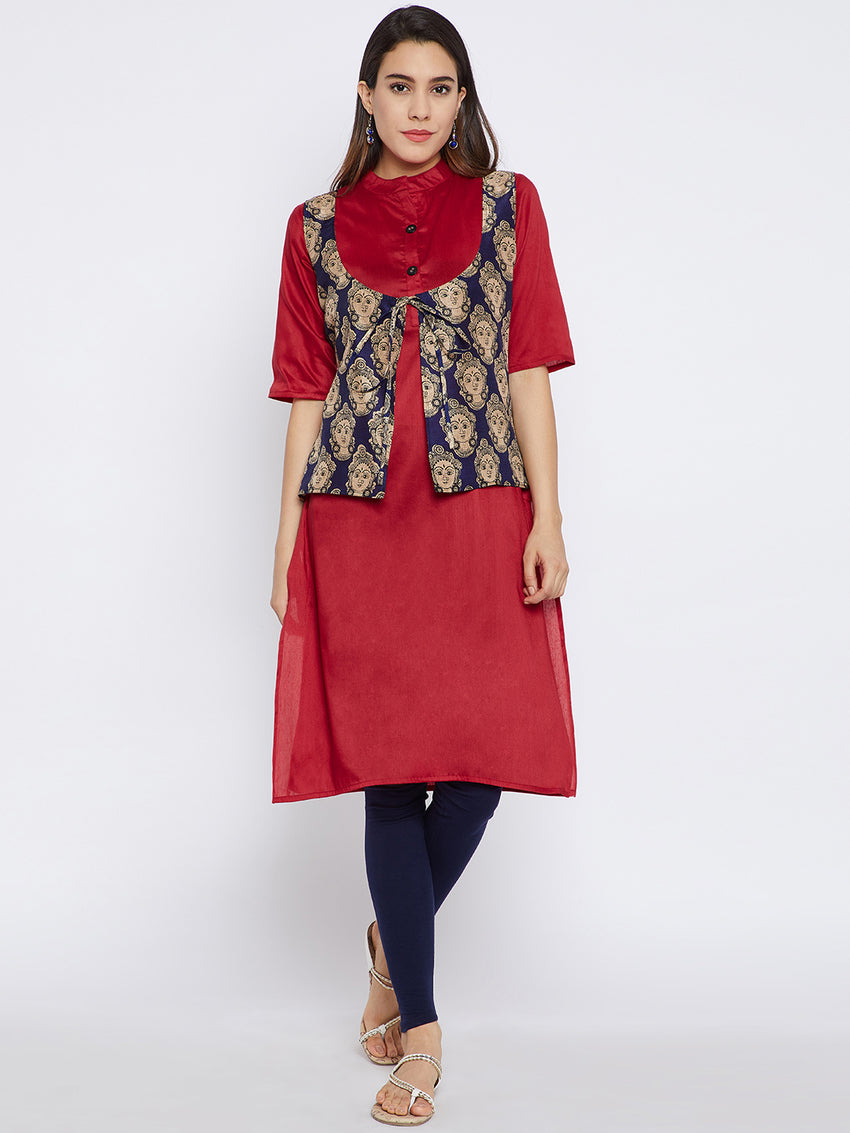 Fabnest Red Solid Cotton Silk Kurta with Blue Printed Koti