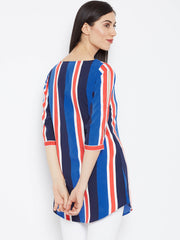 Fabnest Striped Crepe top for Women With Slit Sleeves