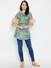 Printed Tunic with Lace and Double Flounce Sleeve