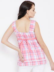 Pink Check Top with Tie Up Back