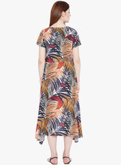 Fabnest Tropical Print Rayon Wrap Around Dress for Women