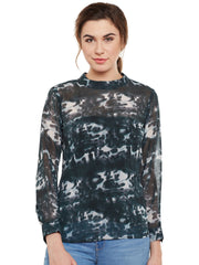Fabnest womens printed dark green top