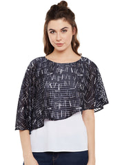 FABNEST WOMENS WHITE AND BLUE BUTTERFLY TOP