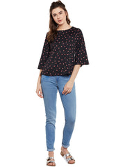 Fabnest womens black printed top