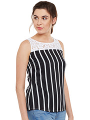 Fabnest women Striped Black/white Top