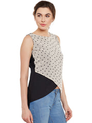 Fabnest womens white&black color block top