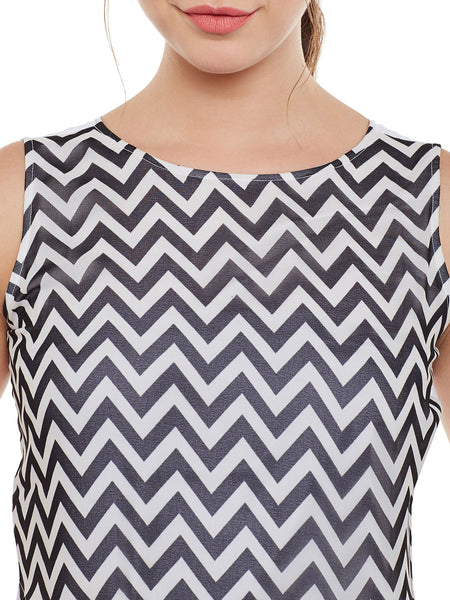 Fabnest womens Black&White color block top