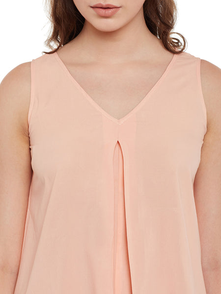 Fabnest womens peach solid asymmetric top