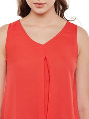 Fabnest womens orange solid asymmetric top