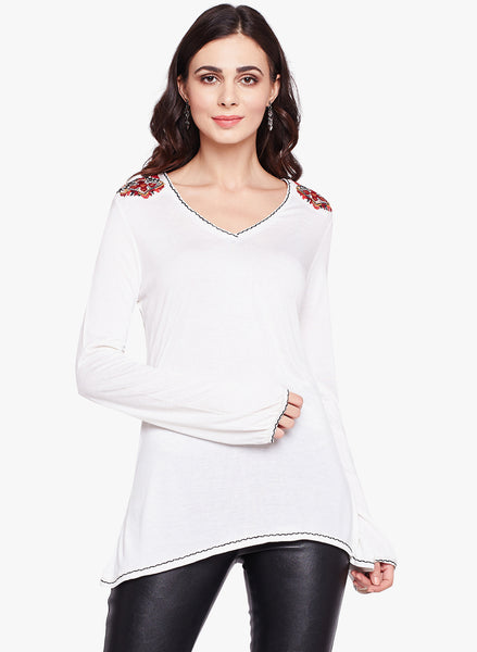 Fabnest womens white Jersey full sleeves top with embroidery at shoulders.