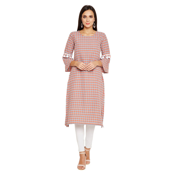 Fabnest women plaid cotton straight kurta with flounce sleeve and lace insert.