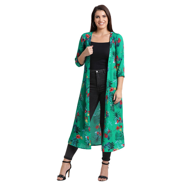 Fabnest womens georgette green tropical print shrug