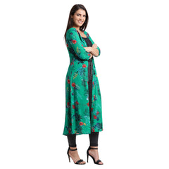 Fabnest womens georgette green tropical print Shrug/Cape