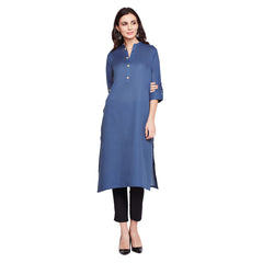 Fabnest cotton womens solid blue straight kurta