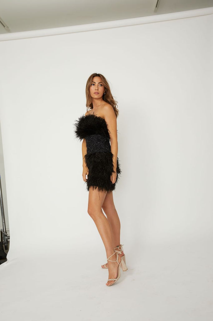 Poppy Feather Mini Dress - ZEKA MANFRED